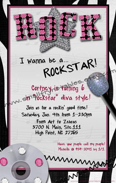 Rockstar Diva Girl S Party Custom Printable Invitation By