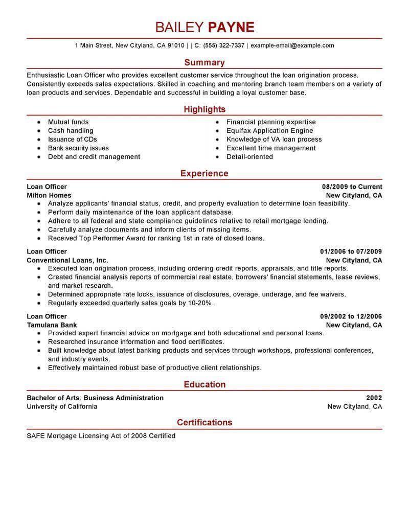 Best Loan Officer Resume Example Livecareer Job Resume Samples Good Resume Examples Resume Examples