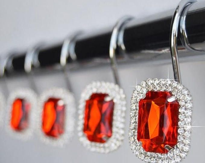 On Sale Shower Curtain Hooks Rings Luxurious Red Decorative