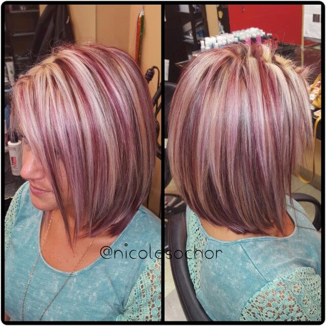 Raspberry Color Icy Blonde Highlights Hairstyles In 2019