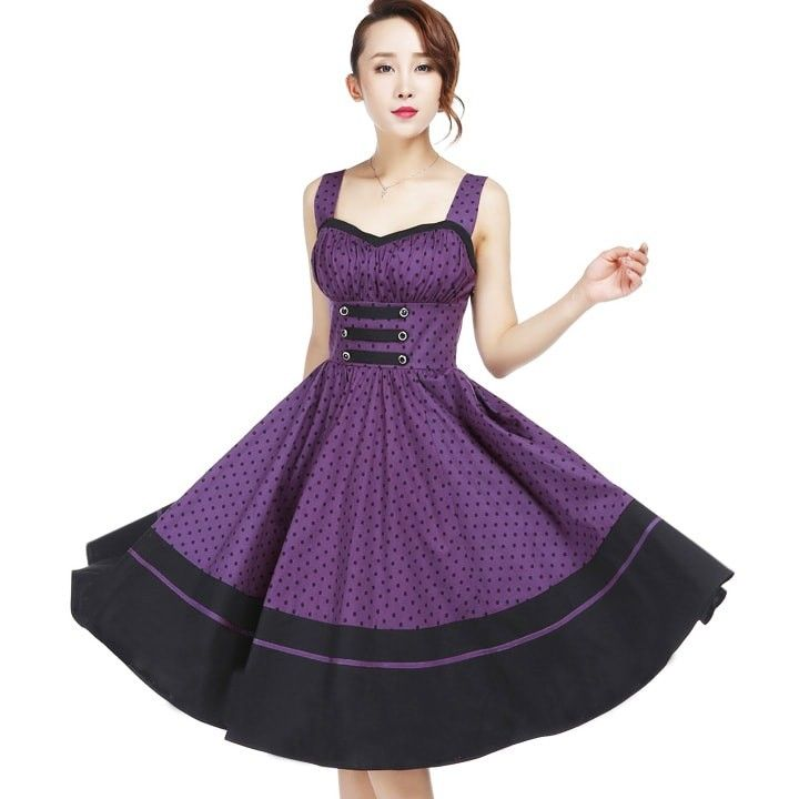 Chic Star Denise 50\'s Purple Polka Dot Swing Dress | Rockabilly ...