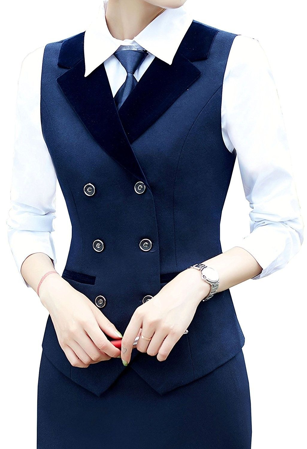 Women Breasted Lapels Slim Fit Uniform Suit Waistcoat Dressy Vest - Blue - C818639NMZO,Women's Clothing, Coats, Jackets & Vests, Vests #women #fashion #clothing #outfits #sexy #gifts #Vests #womenvest