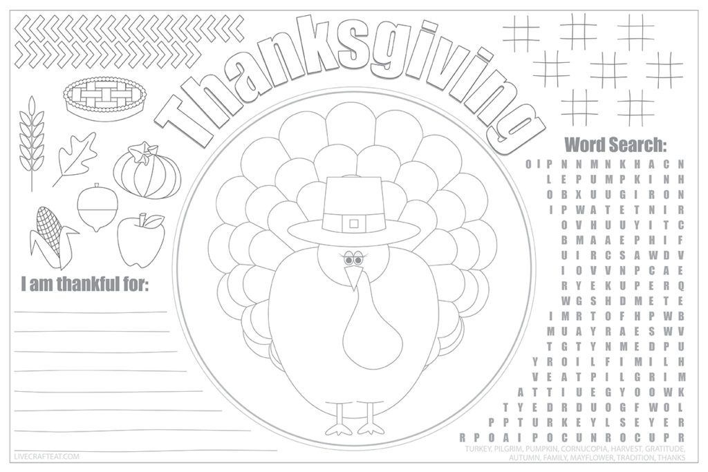 Printable Thanksgiving Placemats For Kids Free