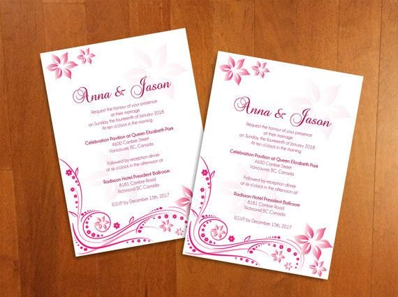 DIY Printable Wedding Invitation Card Microsoft Word Template - Pink ...
