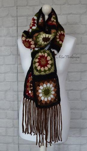 Crocheted coat Jacket  Granny square coat Female cardigan Scarf  Handmade coat  Fashion design Autumn coat Boho coat Black coat #grannysquareponcho