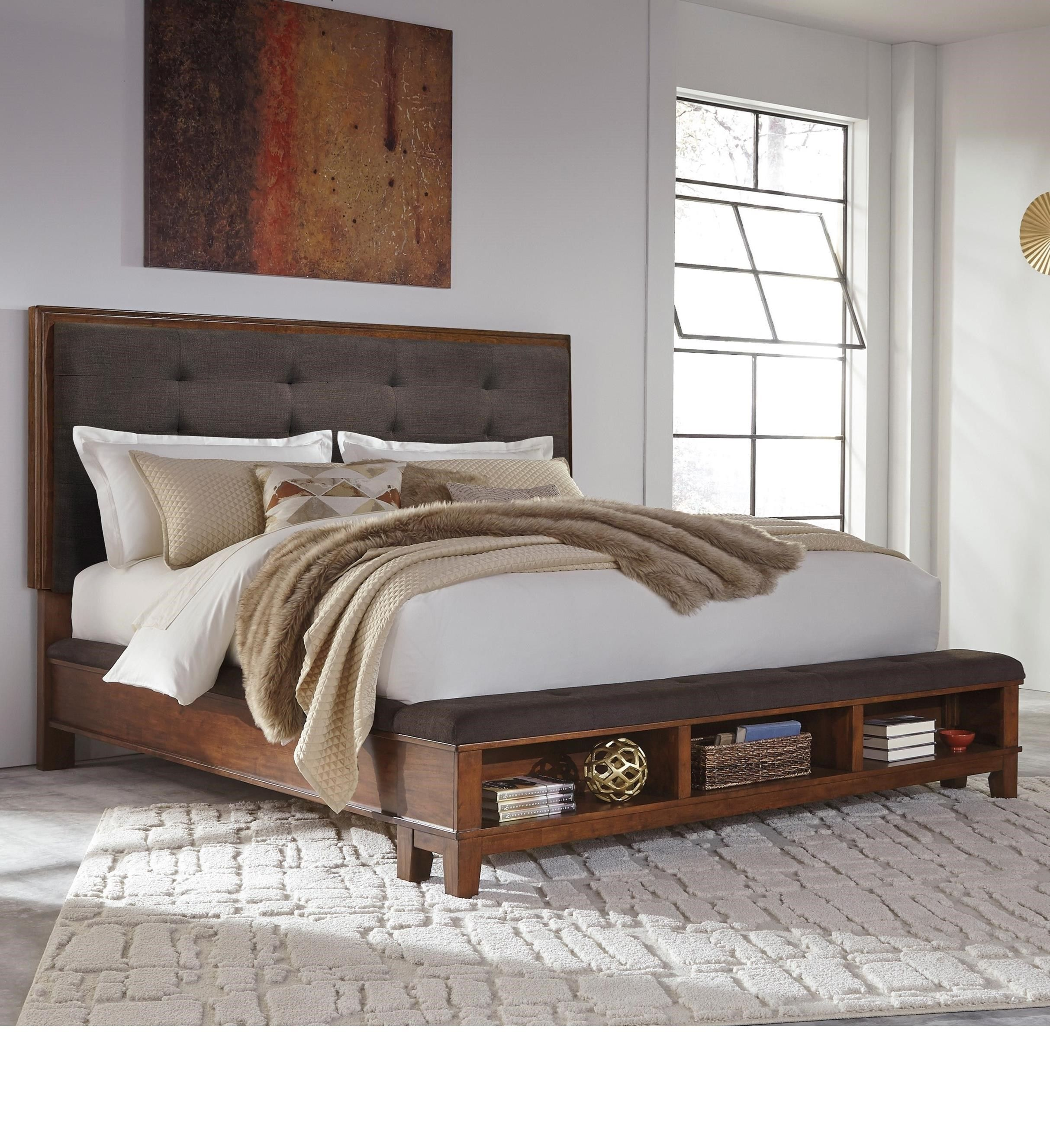 Ralene king upholstered bed with bench storage footboard by