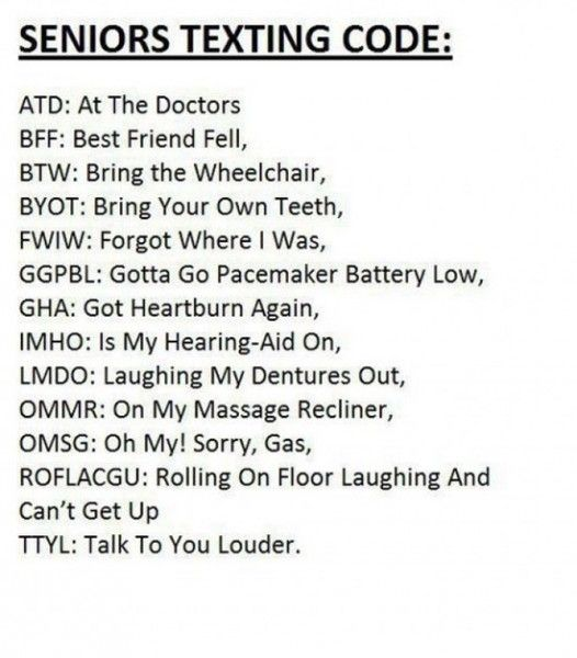 Funny Quotes About Texting: Old People's Texting Acronyms