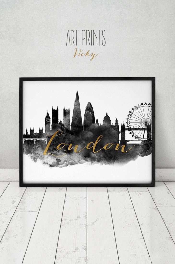 London print, watercolor poster, Wall art, London skyline, black ...