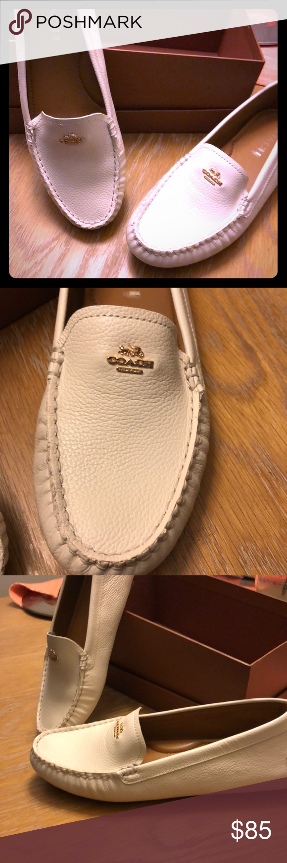 cfa0ea045ca Coach Amber Driving Loafers 💖Beautiful pebble grain leather 💖Color is  Chalk 💖 new in