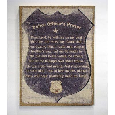 "Wilco Home ""Inspire Me"" ""A Police Officer's Prayer"" Framed Textual Art"