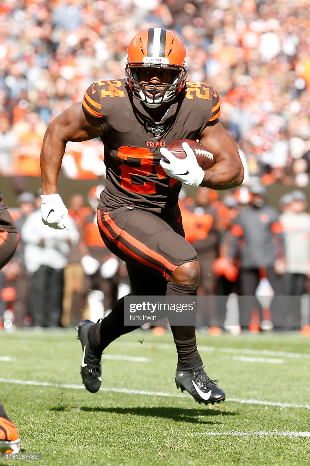 Nick Chubb Of The Cleveland Browns Runs With The Ball During The Game Cleveland Browns Cleveland Running