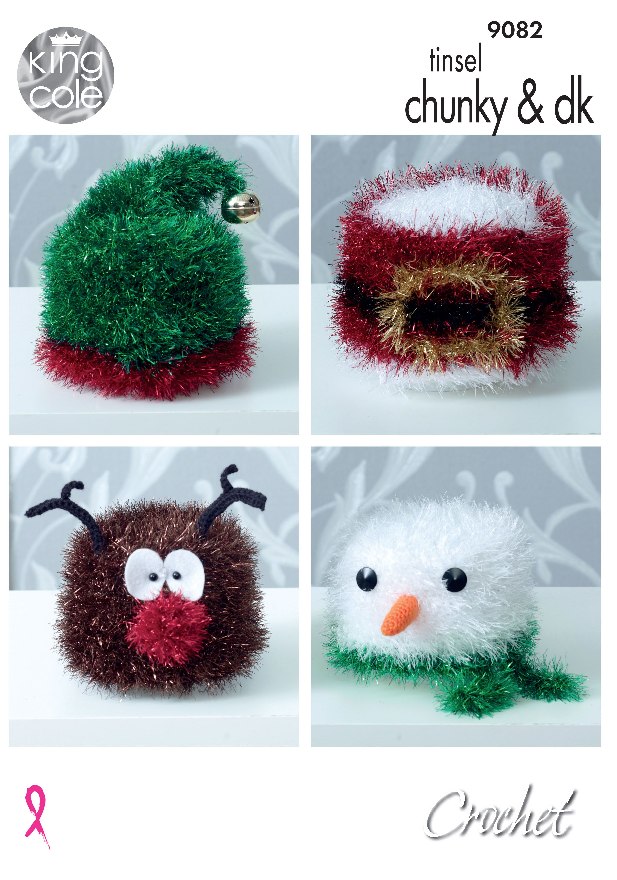 King Cole Tinsel Chunky And Dk  Crochet Christmas Toilet