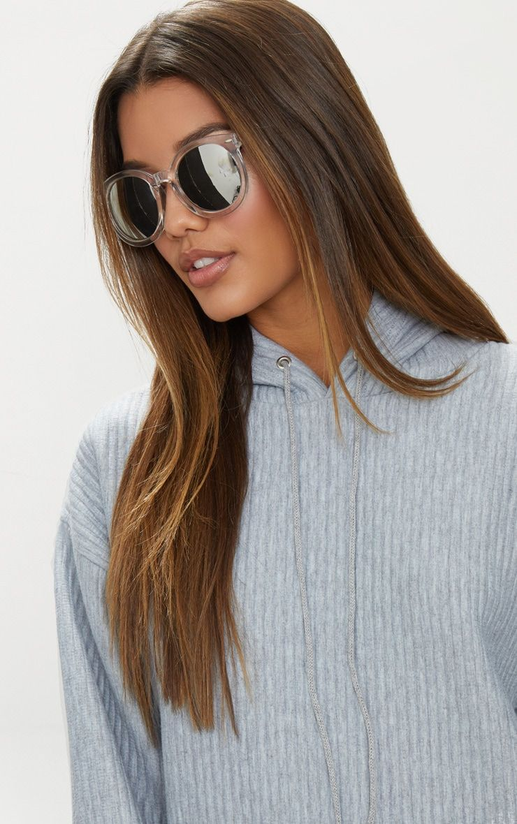 Clear Acrylic Frame Rounded Sunglasses