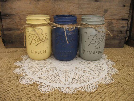 Pinte en pots Mason peint en pots Mason par TheShabbyChicWedding 27,00$