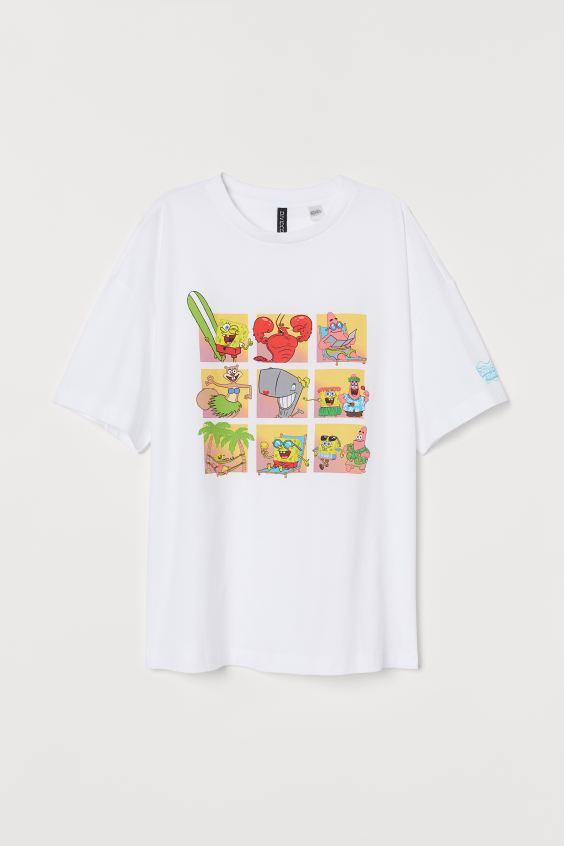 Playera Con Diseno Estampado Blanco Spongebob Squarepants H M Us 4 En 2020 Camisas Pintadas Bob Sponge Bob Esponja