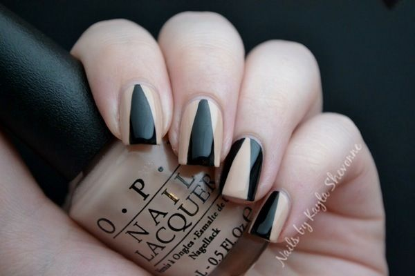 Nude Black Deep V Nail Art Nails Pinterest Manicure Nail