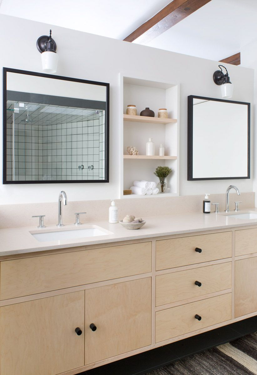 Dual Sink Vanity With Black Square Mirrors Black Hardware And Built In Shelf On Wall B Small White Bathrooms Bathroom Remodel Master Mid Century Modern House