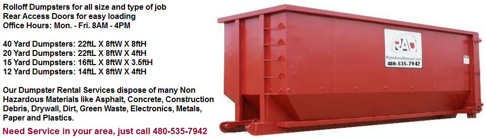 Need A Roll Off Dumpster To Rent In The East Valley Roll Off Dumpster Dumpster Rental Dumpster
