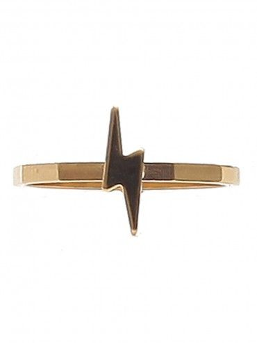 Gold tone, thin stacker ring featuring a lightning bolt shape that measures