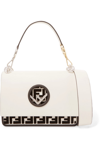 7a240c3dd20 Fendi - Kan I Flocked Leather Shoulder Bag - Off-white