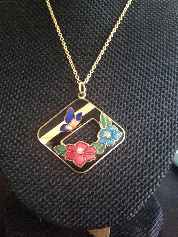 turrquoise cloisonne pendant necklace