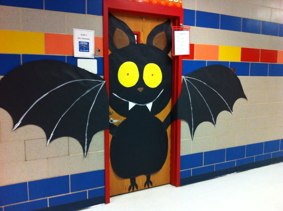 Simple Halloween Classroom Decorations : Bat door decoration october bulletin boards
