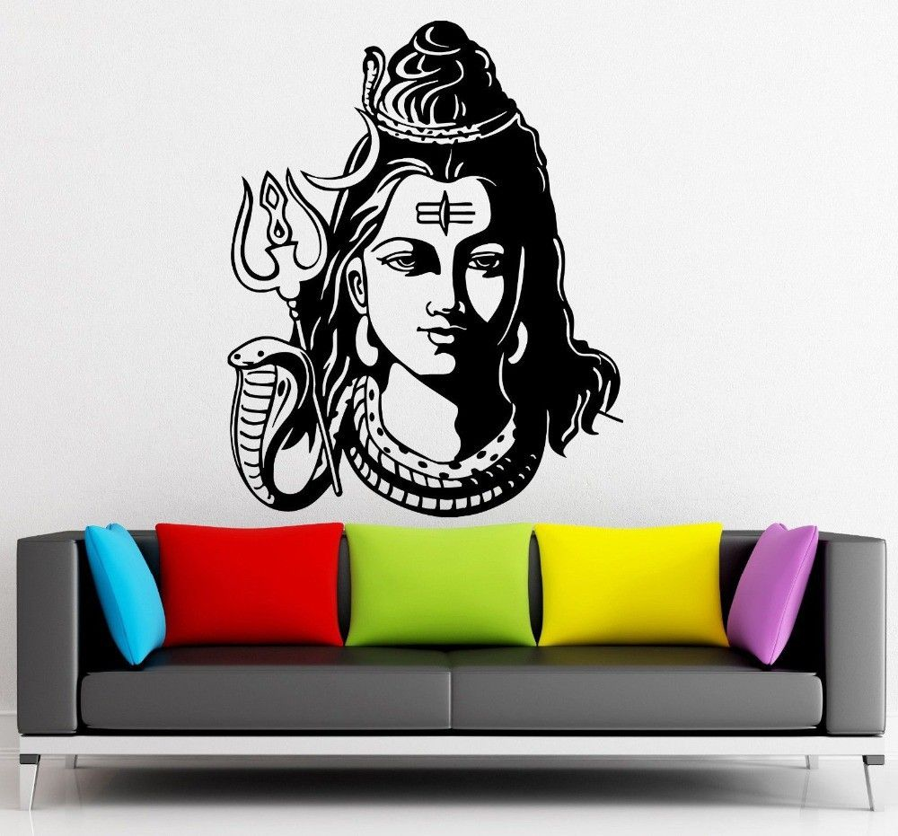 God Shiva India Hindu Religion Wall Sticker Home Decor Wall Decals Vinyl  Wallpaper Mural