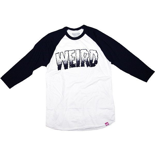WEIRD BASEBALL TEE ($20) ❤ liked on Polyvore featuring tops, t-shirts, long sleeves, white tops, long sleeve t shirts, baseball t shirt, longsleeve tee and white baseball tee