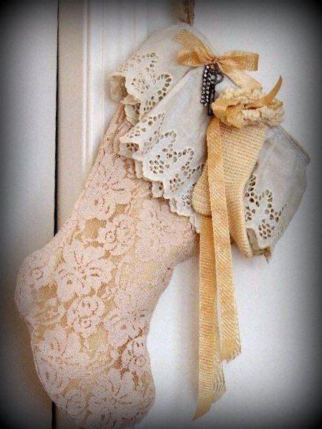 Shabby Chic Christmas Stocking, EXPECTING, Mother, Mom, Baby, Lace, Petticoat trim, Skeleton Key, Rhinestone bracelet pieces, lined.