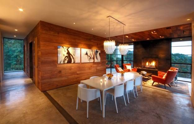Modern blue room interior with abstract wood plank construstion