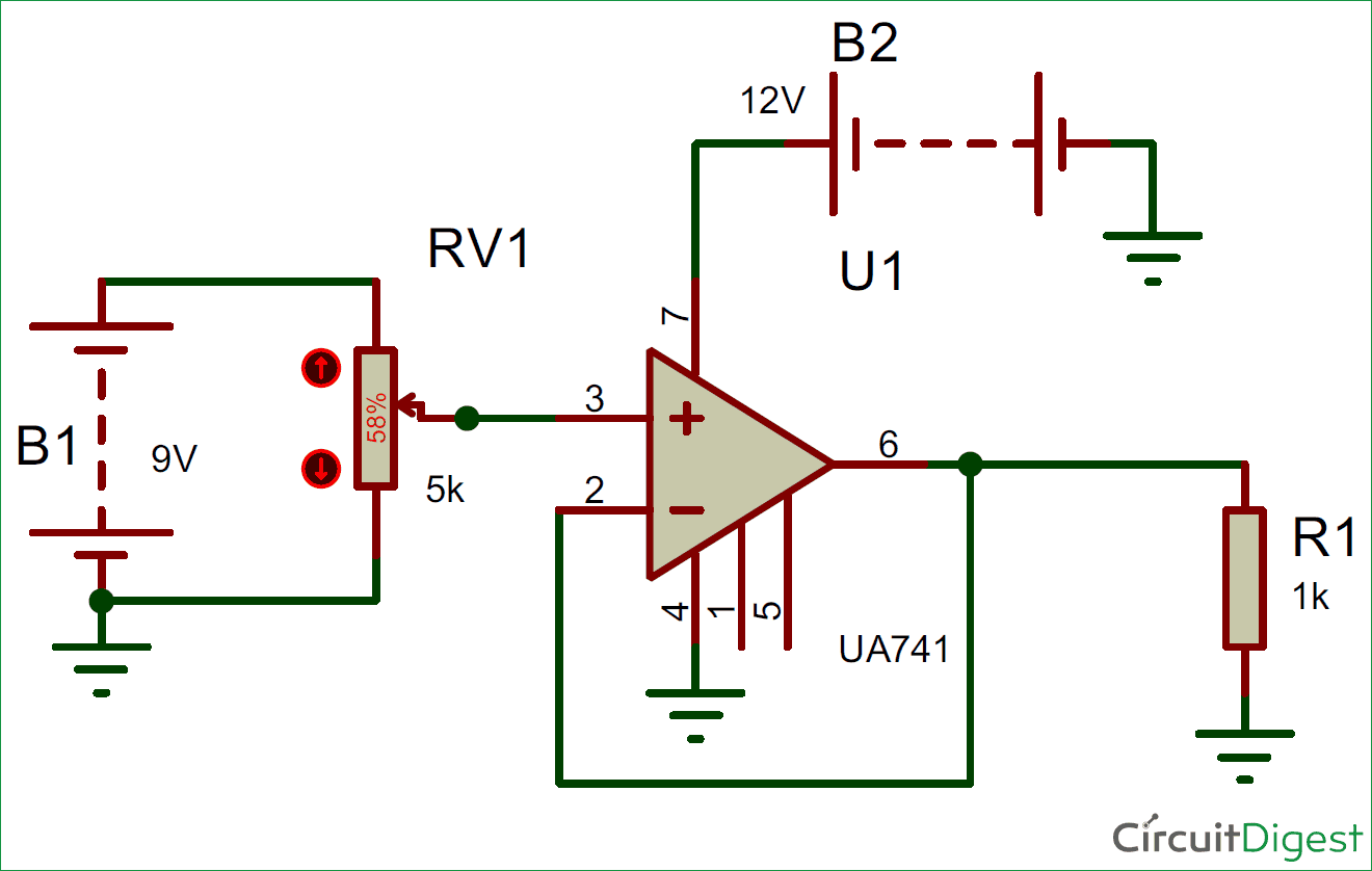 Voltage Follower Circuit Diagram Using Opamp Electronic Stereo Fm Transmitter Circuits And Diagramelectronics Dc Electronics Projects