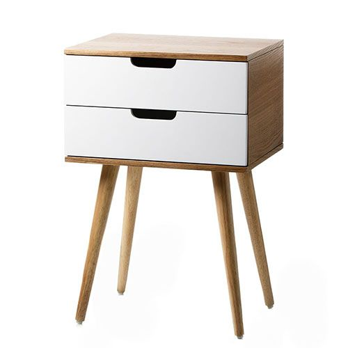 Louis White 2 Drawer Side Table