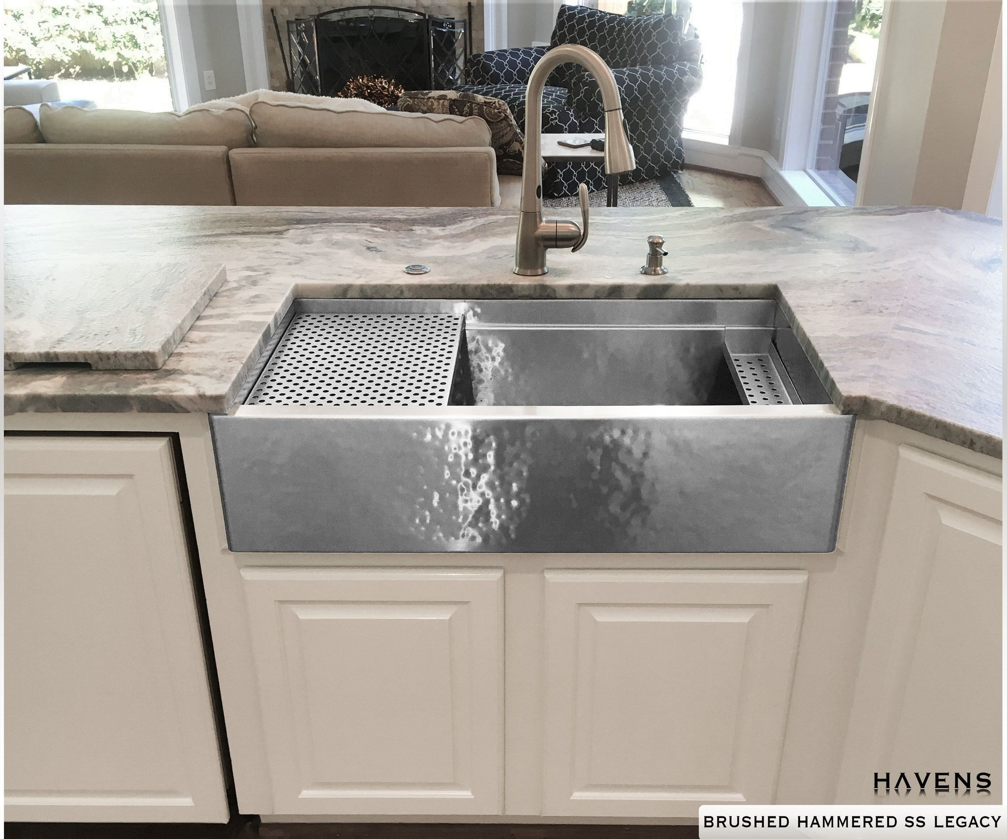 Legacy Stainless Farm Sink Brushed Hammered Havens Metal Stainless Steel Farmhouse Sink Farmhouse Sink Kitchen And Bath Gallery