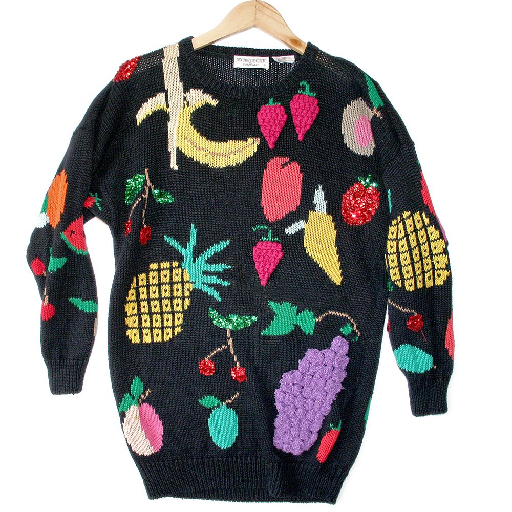 Vintage 90s Oversized Bedazzled Fruit Ugly Sweater | Knits ...