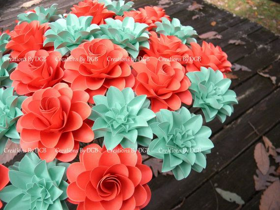 Mix stemmed paper flowers mint green and dark coral paper flowers mix stemmed paper flowers mint green and dark coral paper flowers 30 pcs made to order for weddings showers centerpiece gifts mightylinksfo