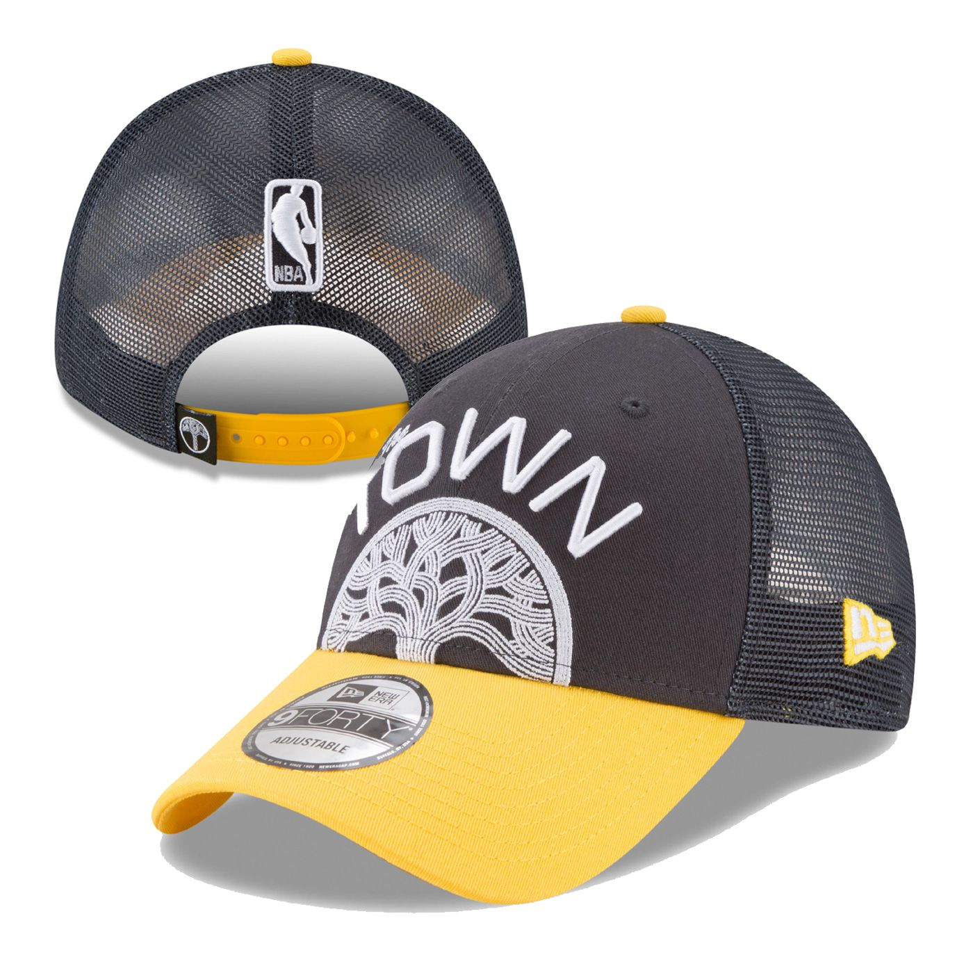 Golden State Warriors New Era  The Town  Split Logo 9FORTY Structured Mesh  Cap - Slate Gold 8f5d045e4b7