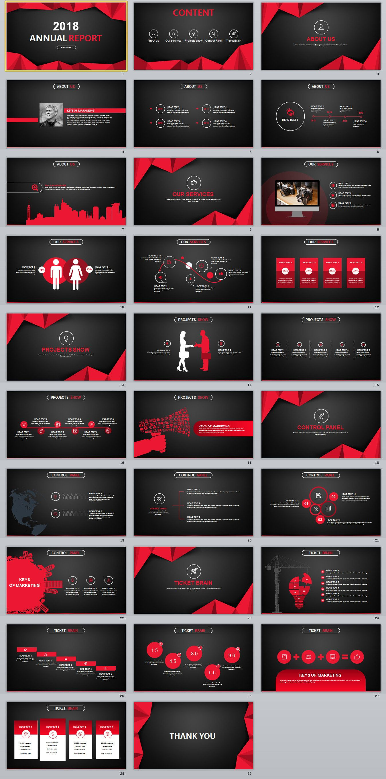 29 Red Black Annual Report Powerpoint Templates On Behance