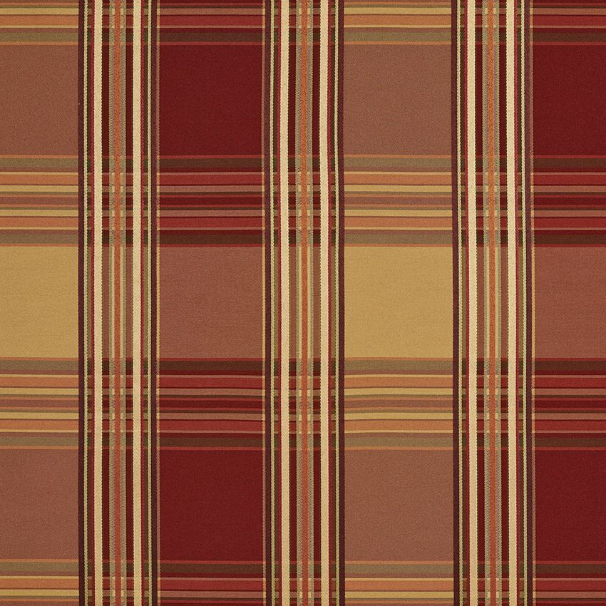 Burgundy Gold and Coral Plaid Woven Damask Upholstery Fabric in 2019