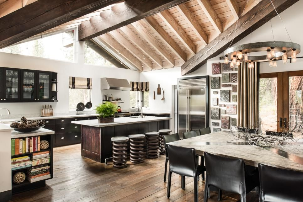 Spacious and Eclectic Lodge in Tahoe | Vaulted ceilings, Beams and on kitchen white beams, kitchen granite, kitchen natural beams, kitchen tv, kitchen ceiling lights, kitchen ceiling planks, kitchen renovations, kitchen bay windows, kitchen ceiling beams, kitchen stone, kitchen arches, kitchen brick walls,