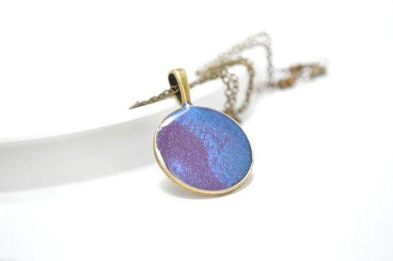 Tye Dye NecklacePurple Blue Pendant Pastel Light Magenta by CCARIA, $21.00