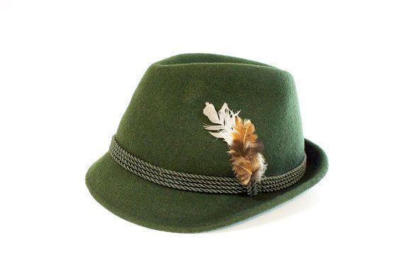 Vintage 60s Mens Green Swiss Wool Hat Spence yodel aye e ooooo 5b8e2620f75
