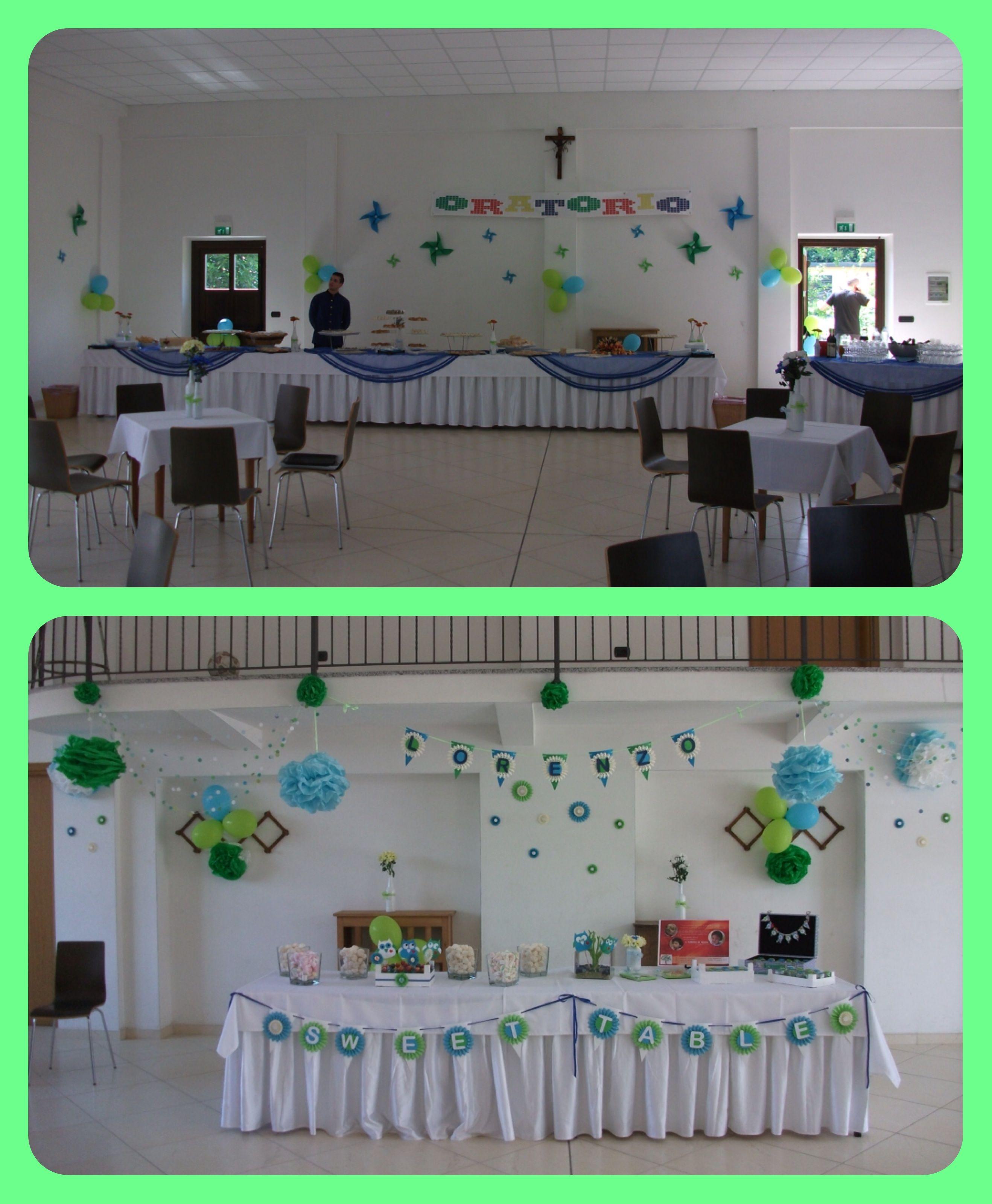 Addobbi per la sala dell 39 oratorio per il battesimo hand made with love how to make - Idee addobbi battesimo ...
