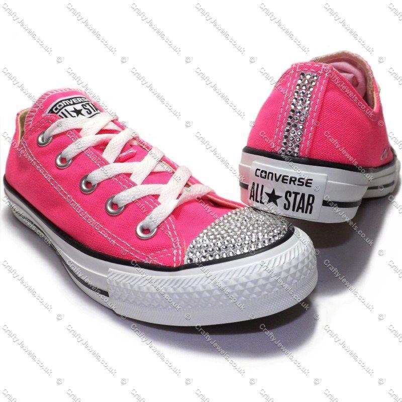 Swarovski or Diamante Crystal Adult Lo Top Converse In Neon Pink  www.craftyjewels.co.uk 19138c6bcc
