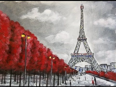 Easy Eiffel Tower Acrylic Painting Impressionist Beginner Paris