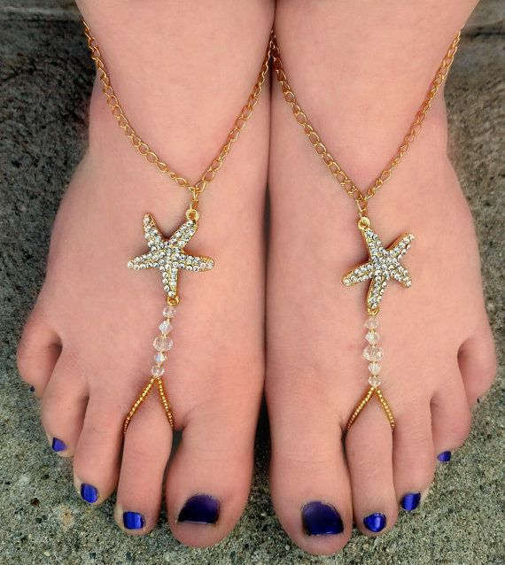 Gold Sparkly Star Fish Barefoot Sandals Barefoot Wedding Bridal