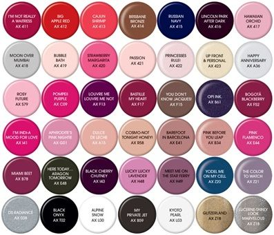 Opi Gel Nail Polish Color Chart 397x341