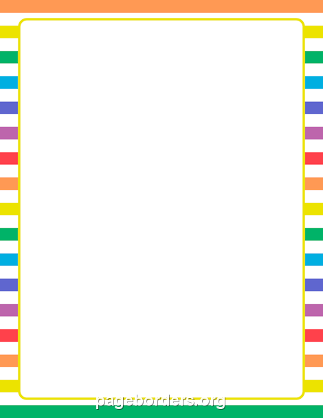 printable rainbow and white striped border use the border in