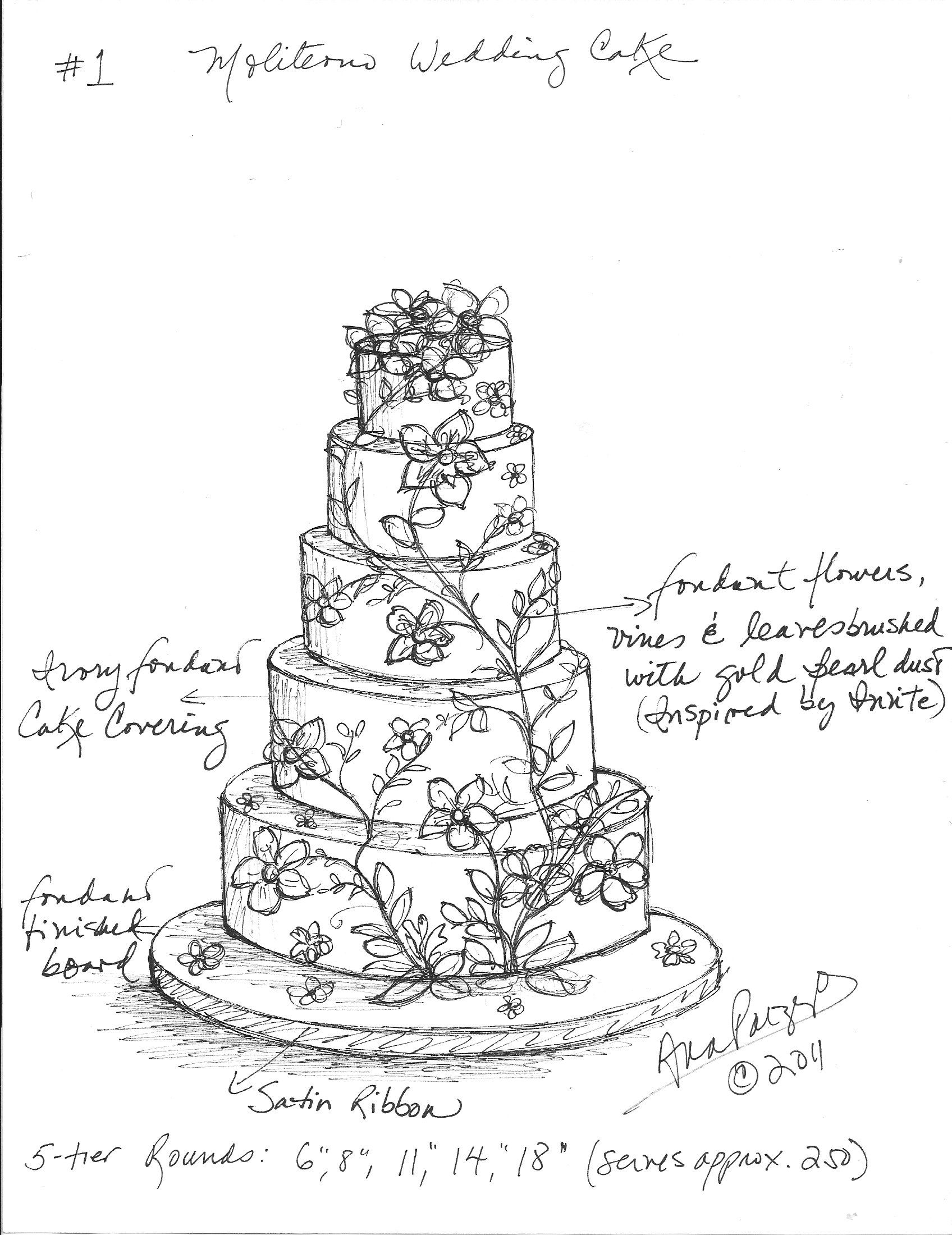 Custom Wedding Cake Sketch For Jennifer And Murat S Cake Ana Parzych Cake Drawing Cake Sketch Wedding Cake Drawing