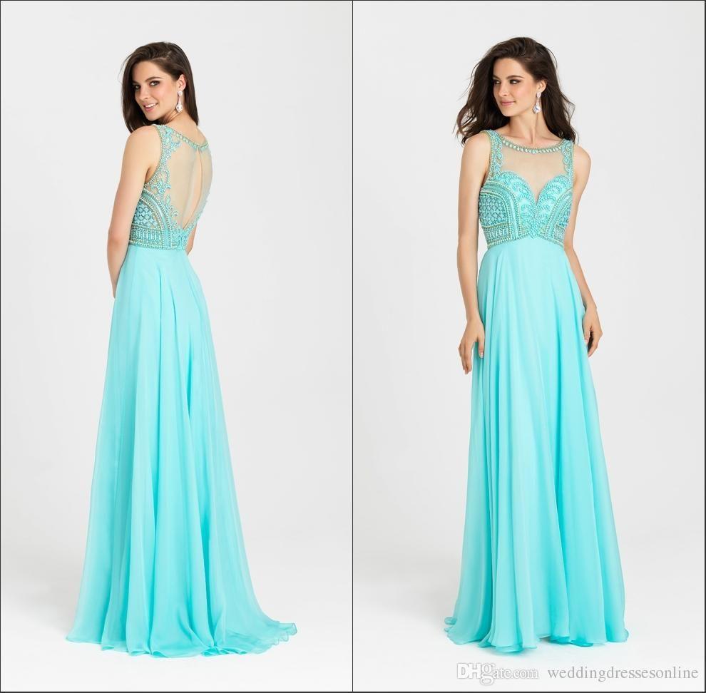 Jewel Neck Long A-line Prom Dresses 2016 Beaded Chiffon Sleeveless ...