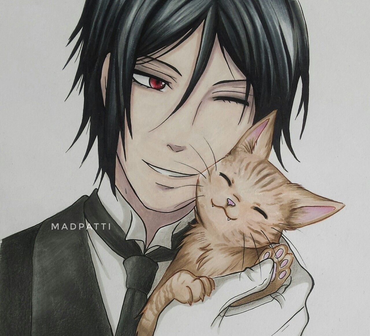 Sebastian & a cute cat <3